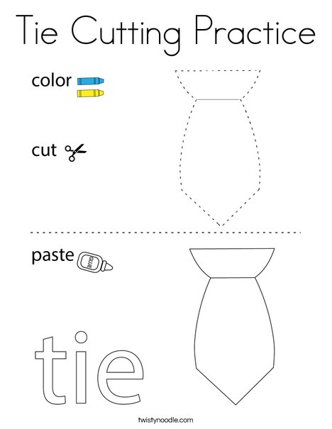 Tie Cutting Practice Coloring Page