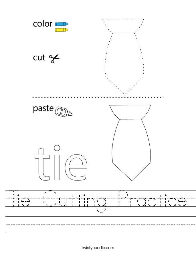 Tie Cutting Practice Worksheet