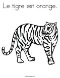 Le tigre est orange. Coloring Page