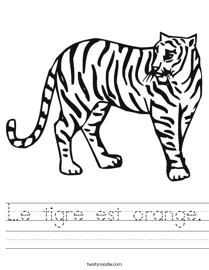 Le tigre est orange. Worksheet