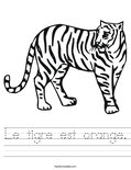 Le tigre est orange. Worksheet