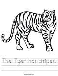 The Tiger has stripes. Worksheet