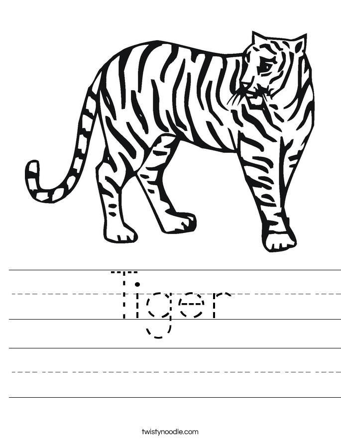 Tiger Worksheet - Twisty Noodle