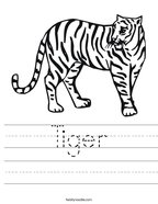 Tiger Handwriting Sheet