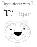 Tiger starts with T Coloring Page