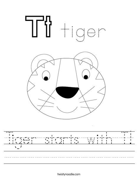 Tiger starts with T! Worksheet