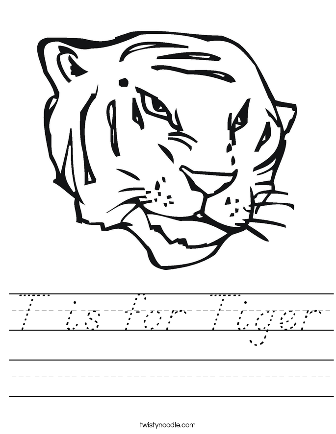 T is for Tiger Worksheet