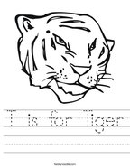 T is for Tiger Handwriting Sheet