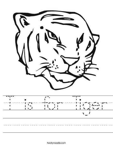 Tiger Head Worksheet