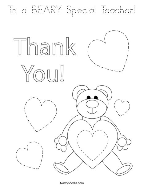 To a BEARY Special Teacher! Coloring Page