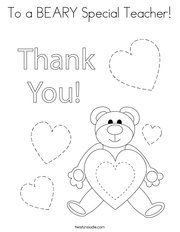 To a BEARY Special Teacher Coloring Page