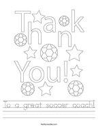 To a great soccer coach Handwriting Sheet