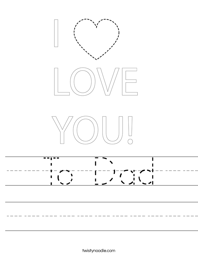To Dad Worksheet