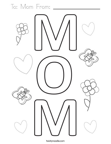 To: Mom From:_________ Coloring Page