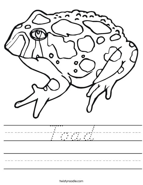 Toad with Spots Worksheet