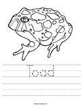 Toad Worksheet