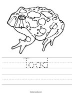 Toad Handwriting Sheet