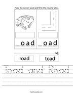 Toad and Road Handwriting Sheet