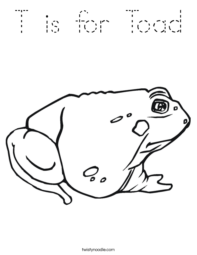 T is for Toad Coloring Page