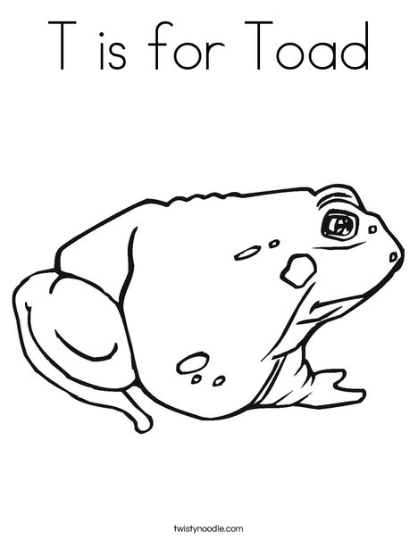 T is for Toad Coloring Page - Twisty Noodle