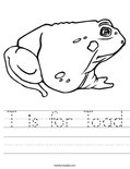 T is for Toad Worksheet