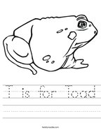 T is for Toad Handwriting Sheet