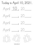 Today is April 10, 2021 Coloring Page
