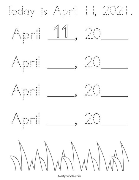 Today is April 11, 2020. Coloring Page