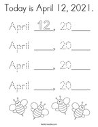 Today is April 12, 2021 Coloring Page