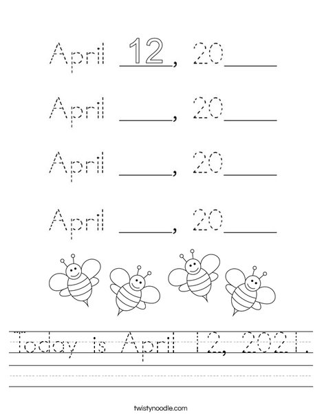 Today is April 12, 2020. Worksheet
