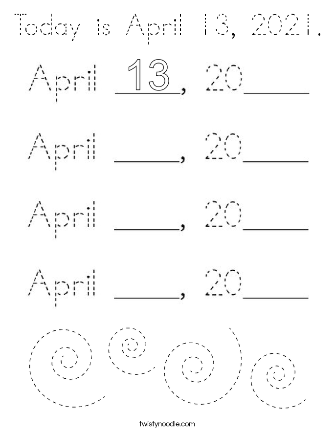 Today is April 13, 2021. Coloring Page