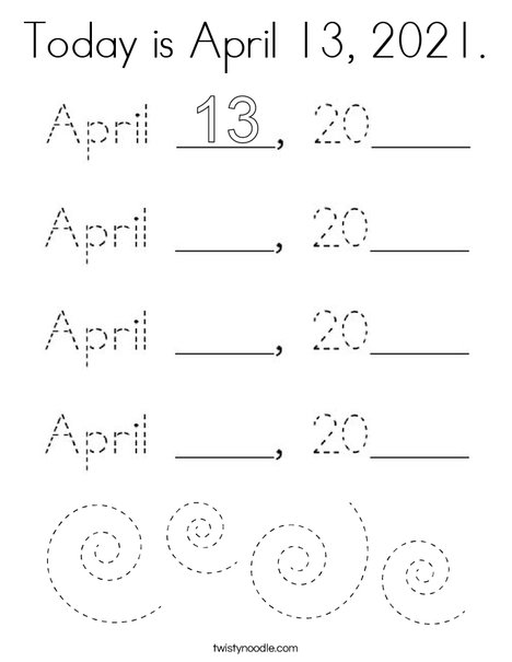 Today is April 13, 2020. Coloring Page