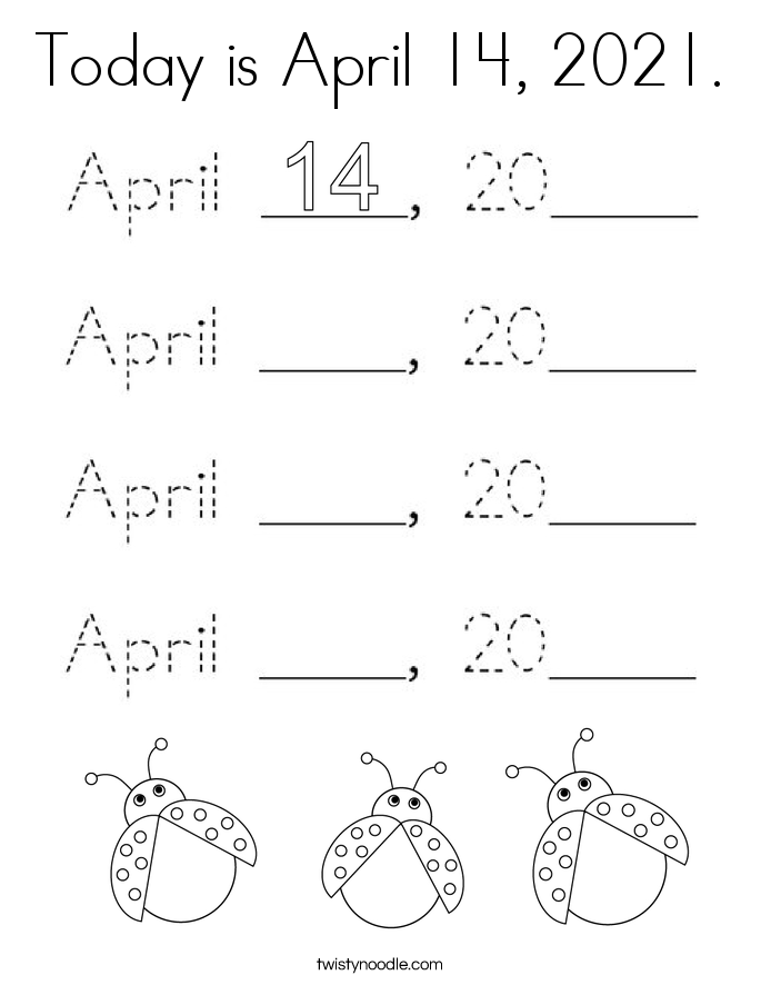 Today is April 14, 2021. Coloring Page