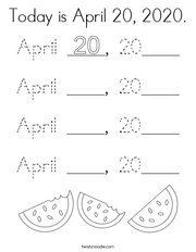 Today is April 20, 2020 Coloring Page