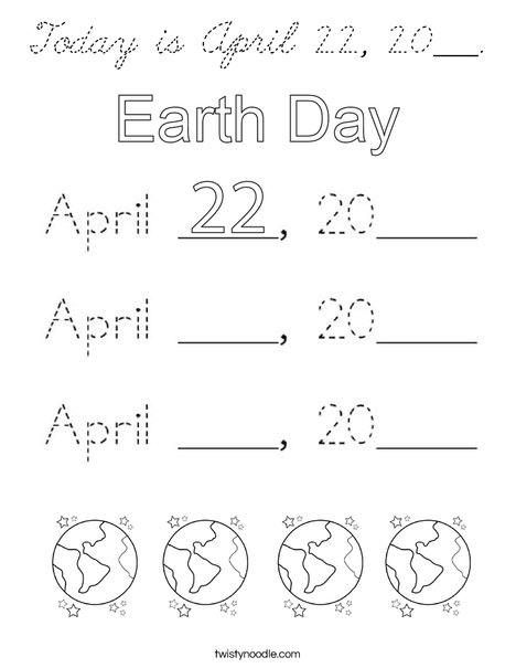 Today is April 22, 2020. Coloring Page