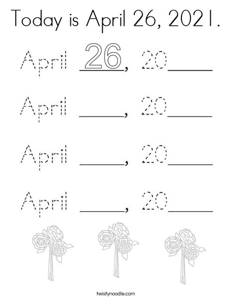 Today is April 26, 2020. Coloring Page