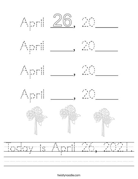 Today is April 26, 2020. Worksheet
