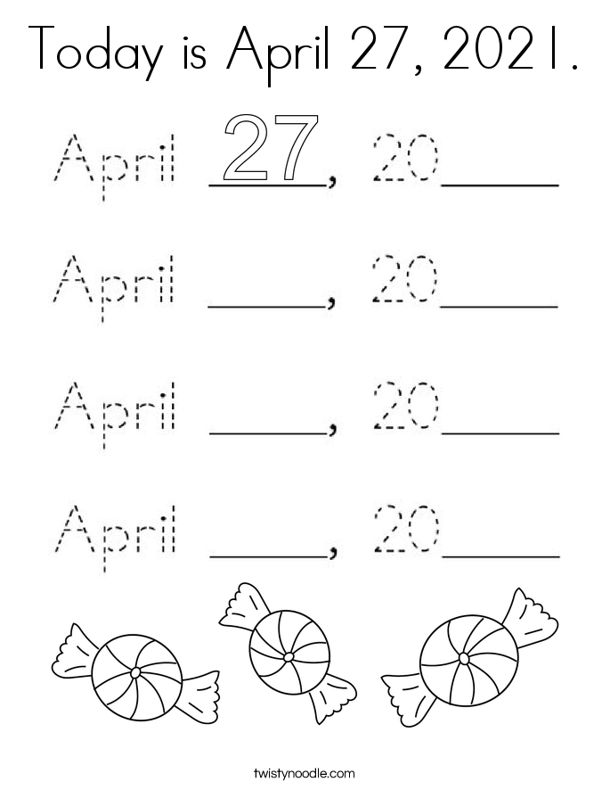 Today is April 27, 2021. Coloring Page