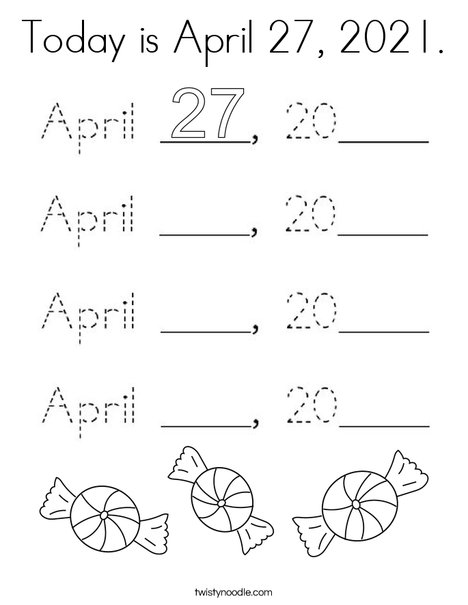 Today is April 27, 2020. Coloring Page