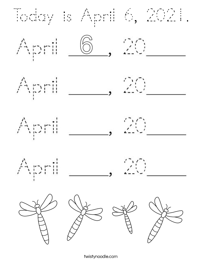 Today is April 6, 2021. Coloring Page