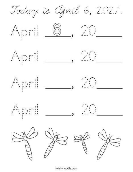 Today is April 6, 2020. Coloring Page