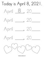 Today is April 8, 2021 Coloring Page