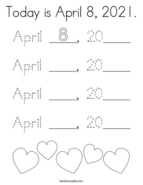 Today is April 8, 2020. Coloring Page