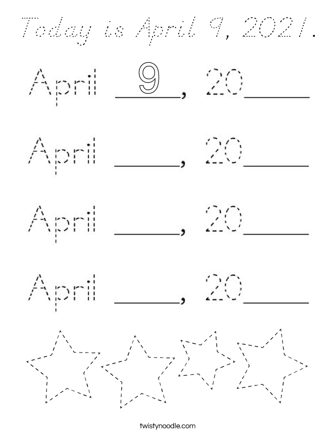 Today is April 9, 2021. Coloring Page