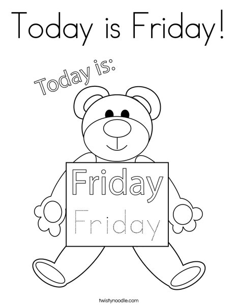 Today is Friday! Coloring Page