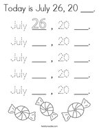 Today is July 26, 20 ___ Coloring Page