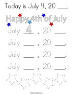Today is July 4, 20 ___ Coloring Page