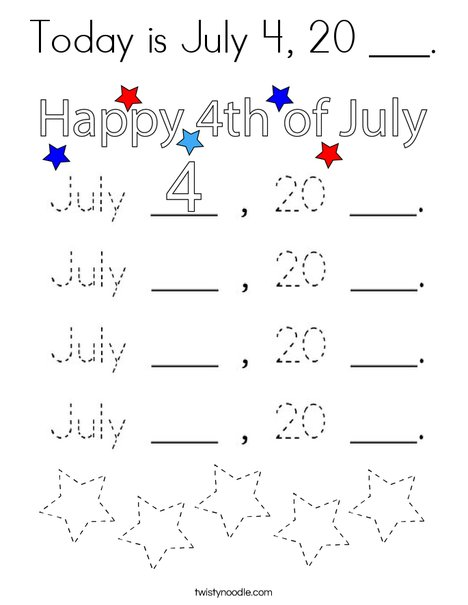 Today is July 4, 20 ___. Coloring Page