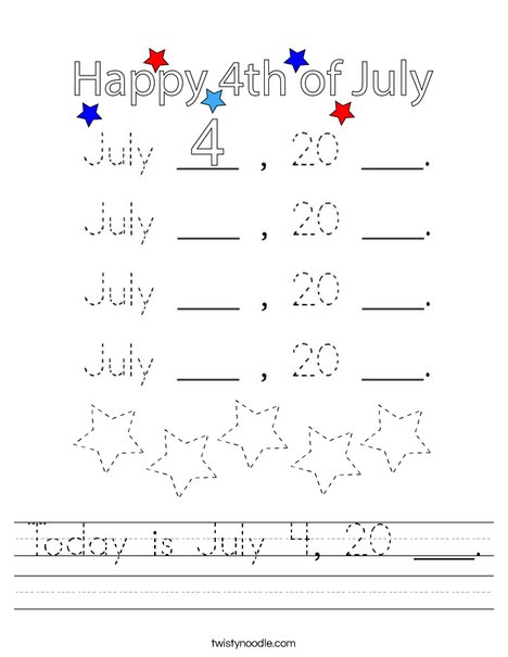 Today is July 4, 20 ___. Worksheet