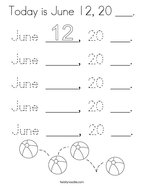 Today is June 12, 20 ___ Coloring Page